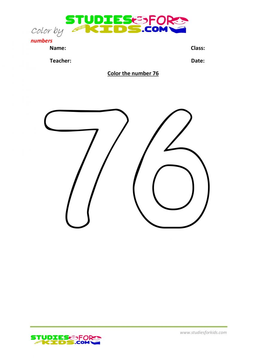 printable worksheet color by numbers 76