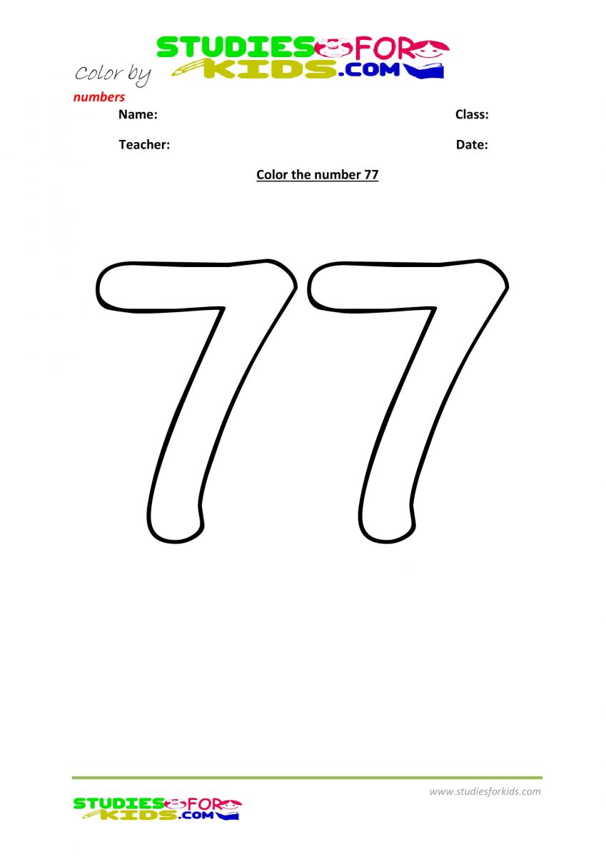 printable worksheet color by numbers 77
