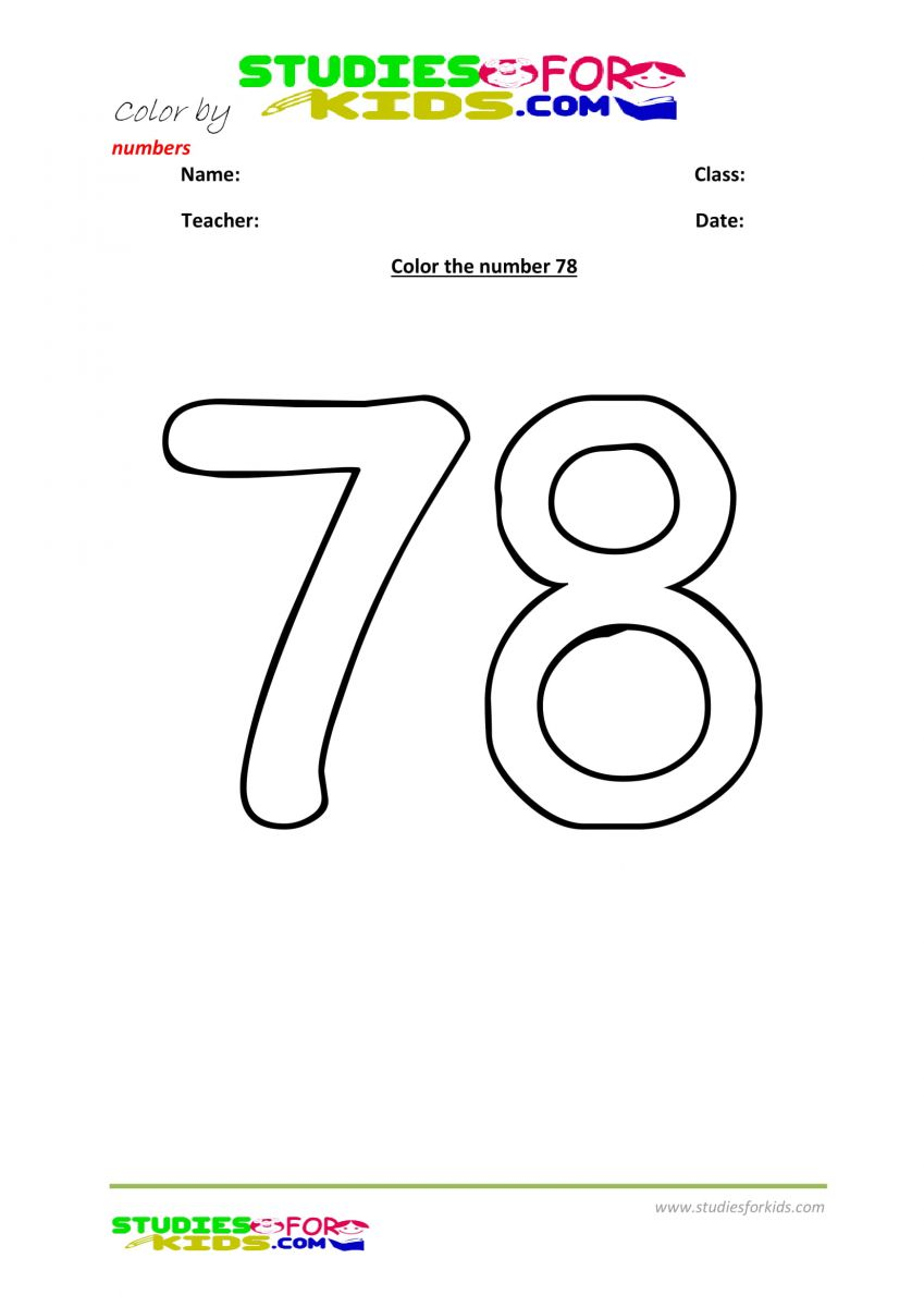 printable worksheet color by numbers 78