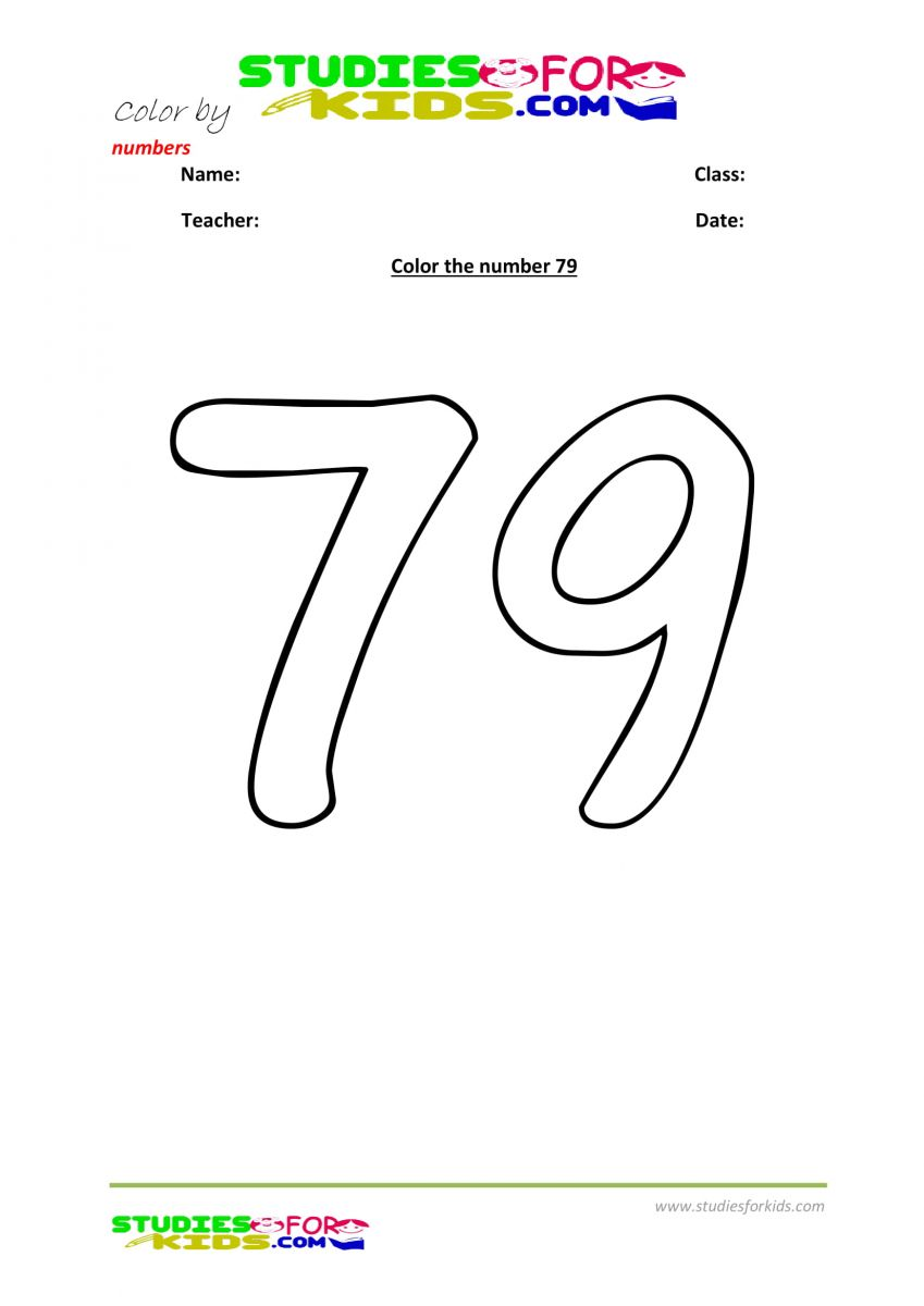 printable worksheet color by numbers 79