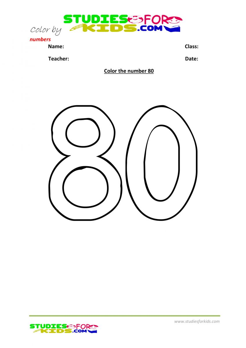 printable worksheet color by numbers 80