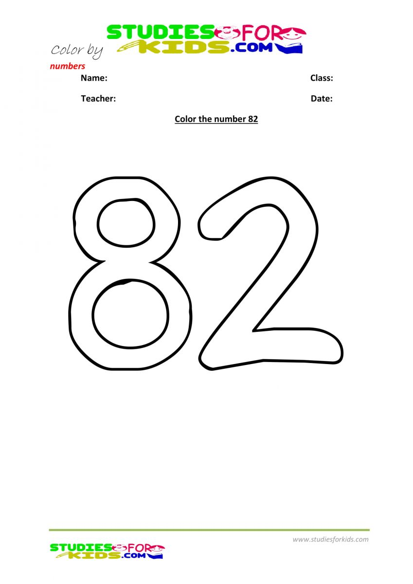 Preschool printable worksheet color by numbers 82