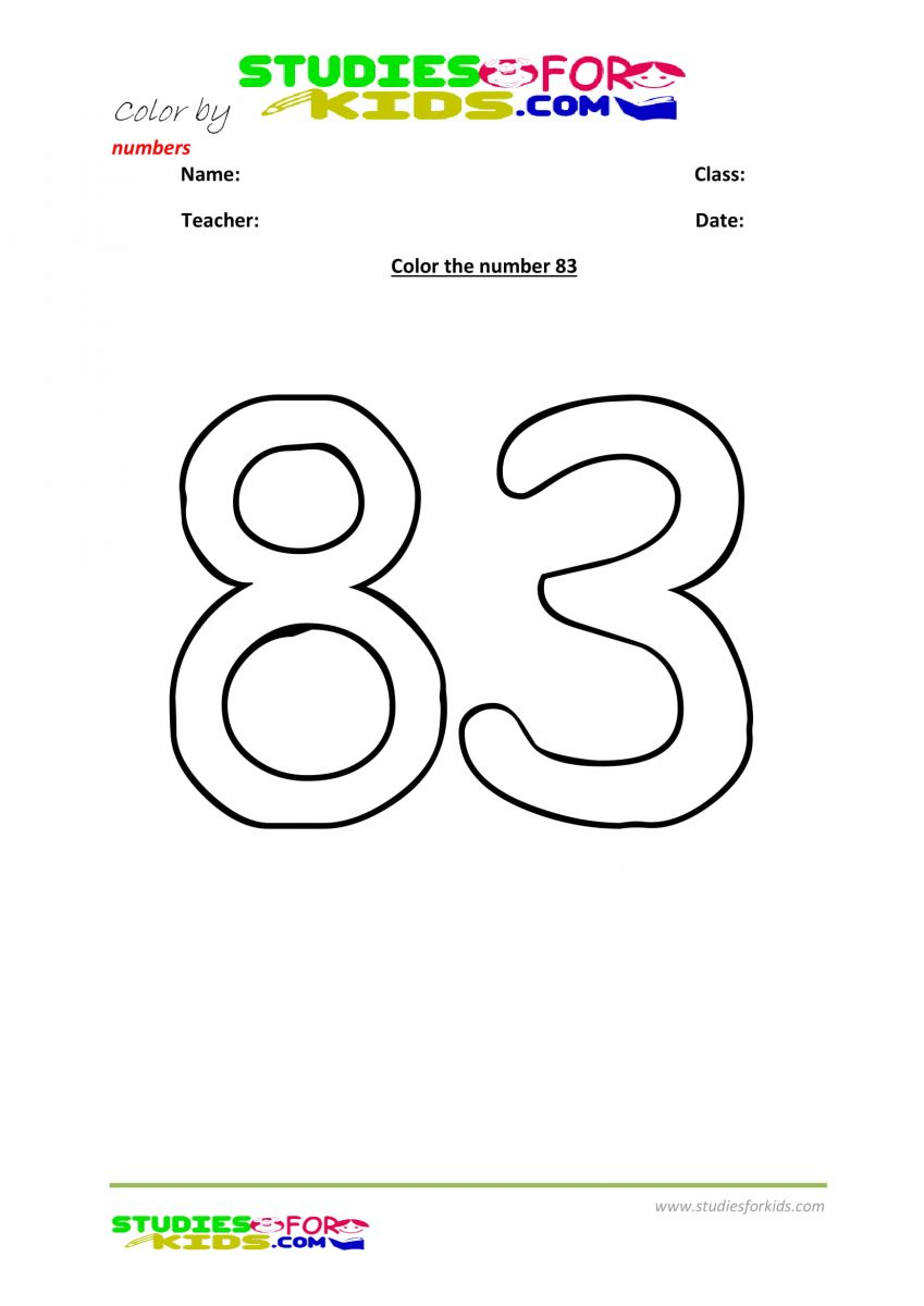 Preschool printable worksheet color by numbers 83