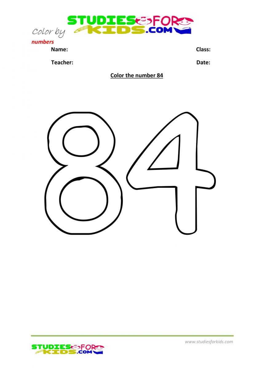 Preschool printable worksheet color by numbers 84