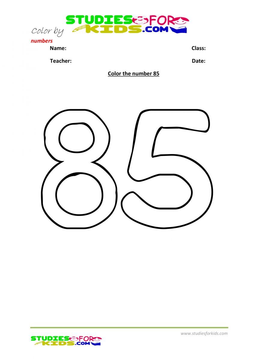 Preschool printable worksheet color by numbers 85