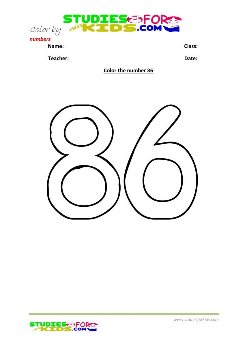 Preschool printable worksheet color by numbers 86