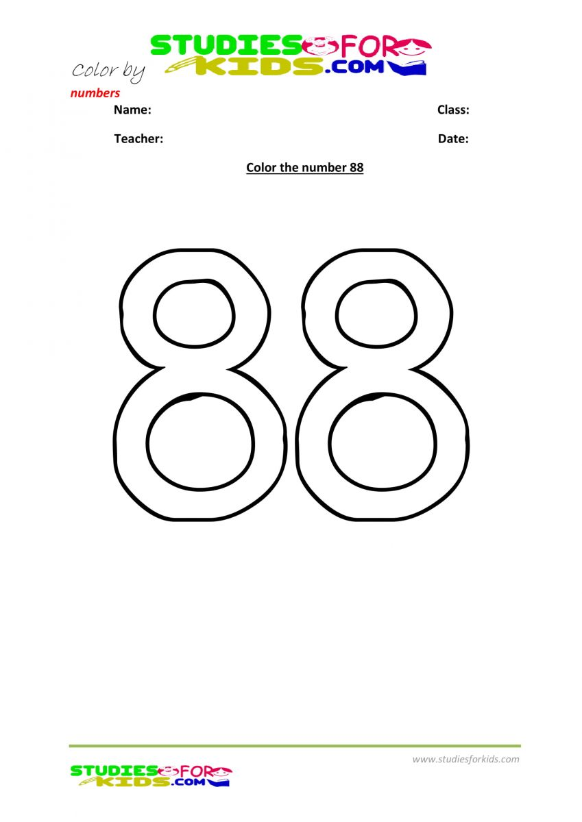 Preschool printable worksheet color by numbers 88