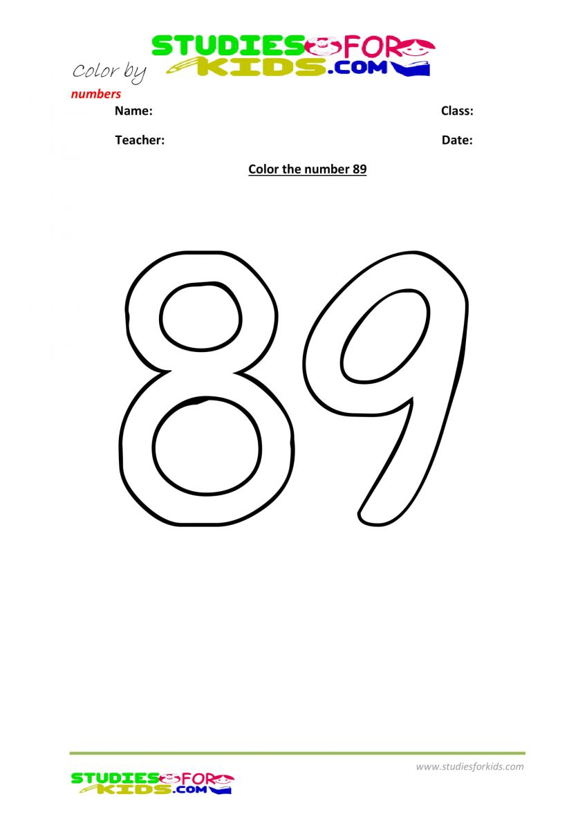 Preschool printable worksheet color by numbers 89
