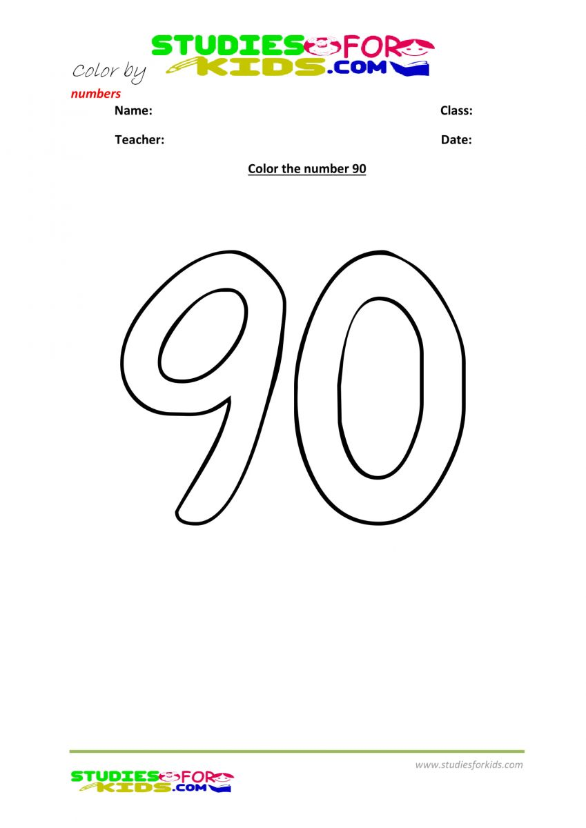 color by numbers Preschool printable worksheet  90