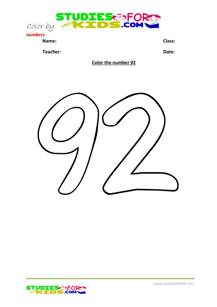 color by numbers Preschool printable worksheet  92
