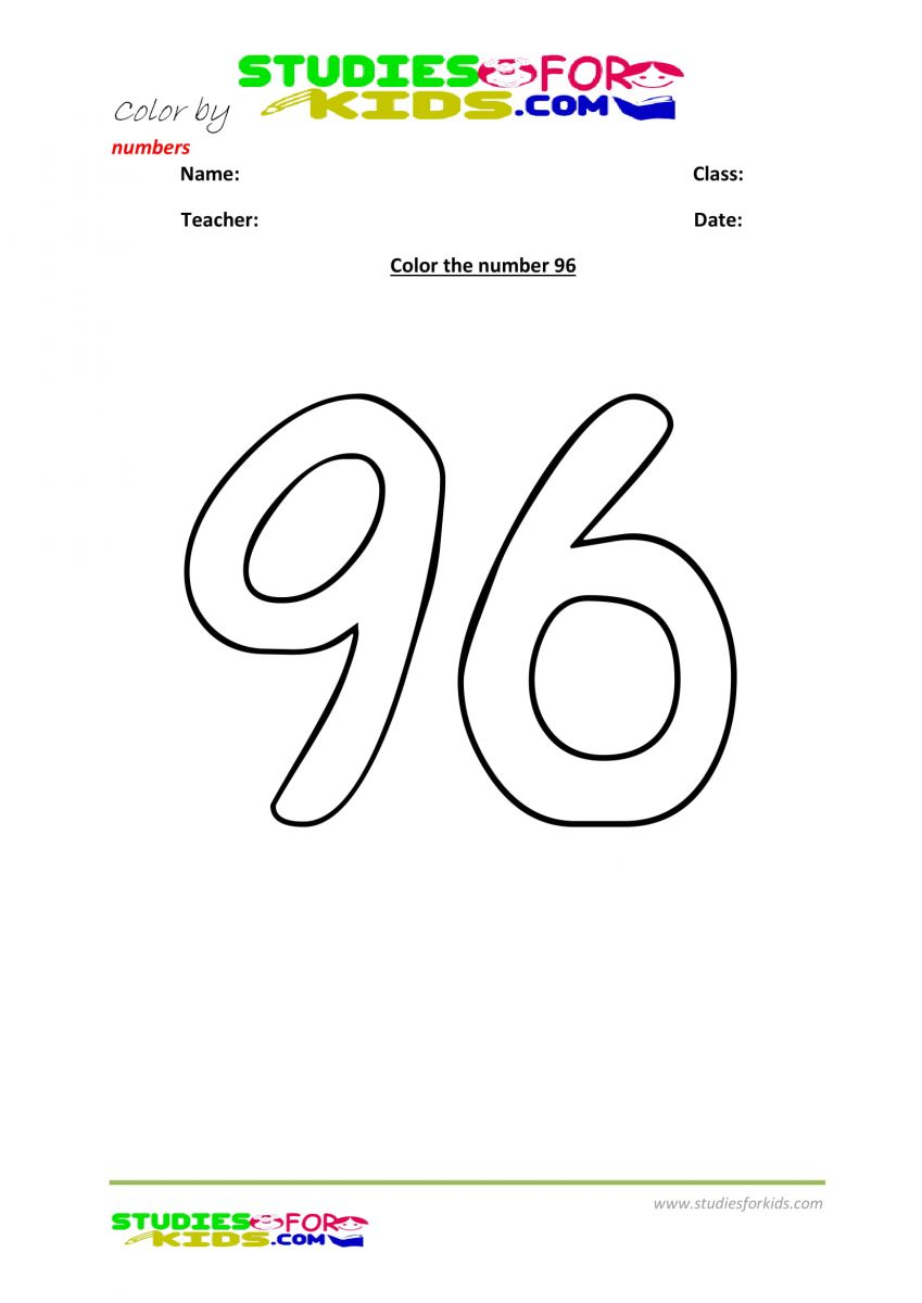 color by numbers Preschool printable worksheet  96