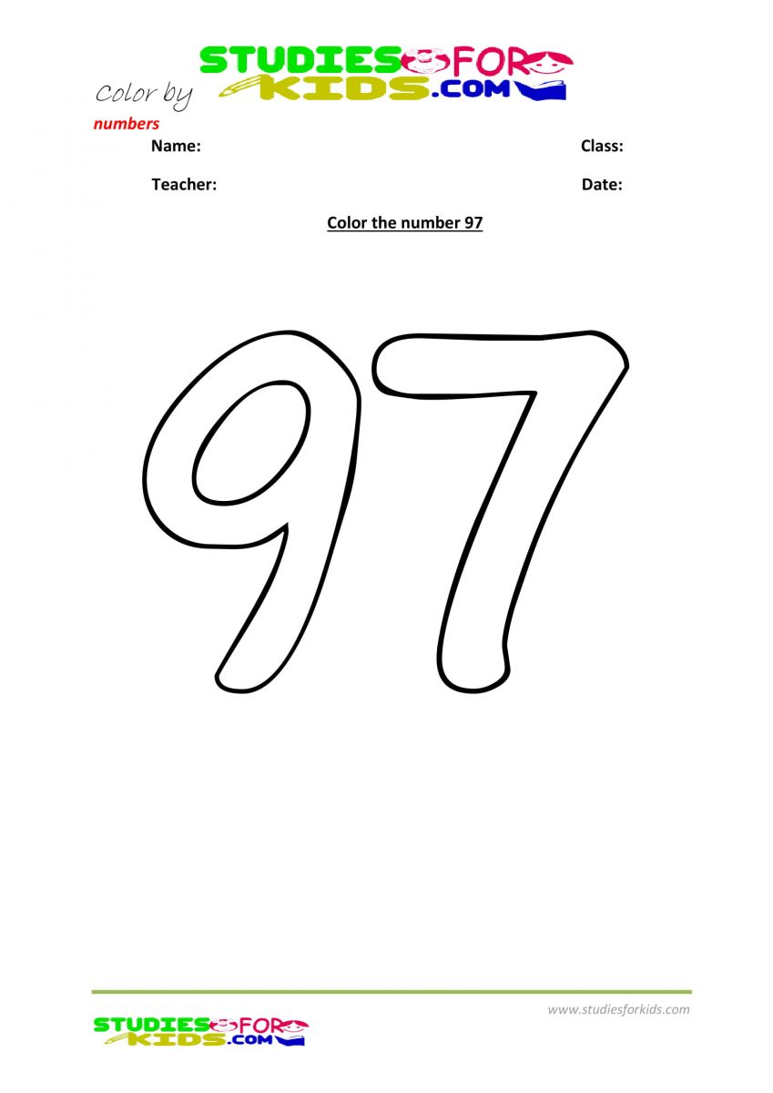 color by numbers Preschool printable worksheet  97