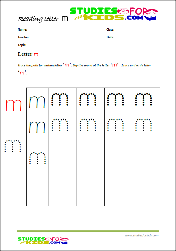 cursive writing worksheets  letter m
