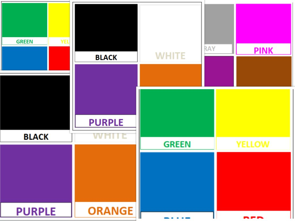 PDF color Flash cards for  Nusery school