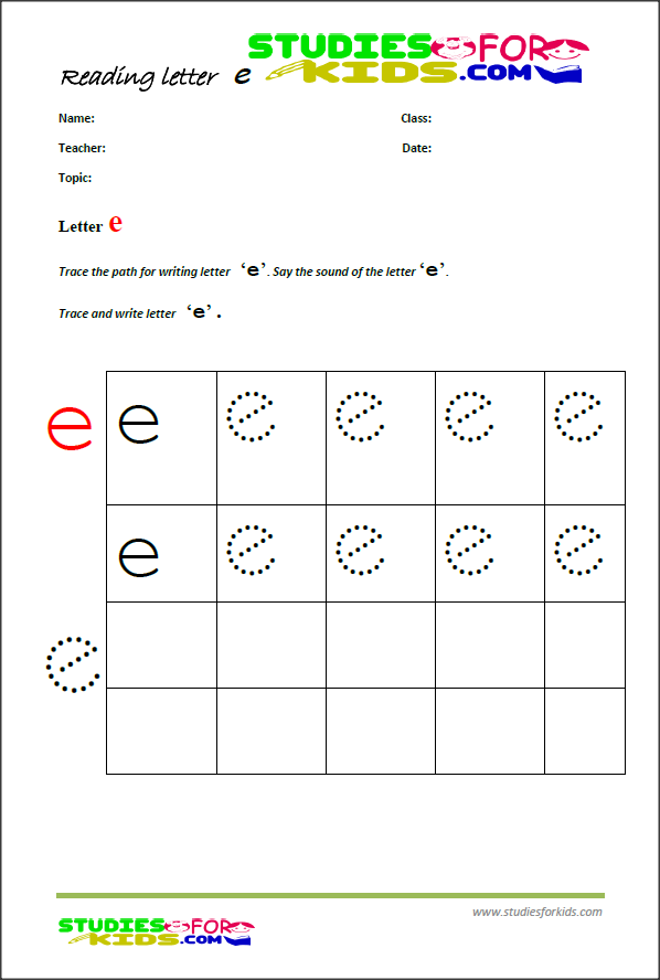 free printable handwriting worksheets -letter e