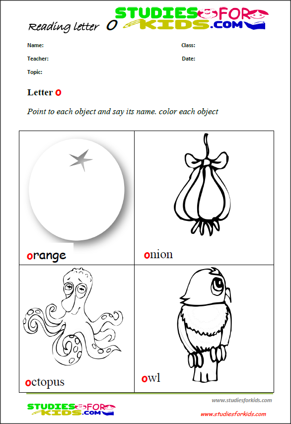 letter O reading coloring worksheets for kids-free printable PDF