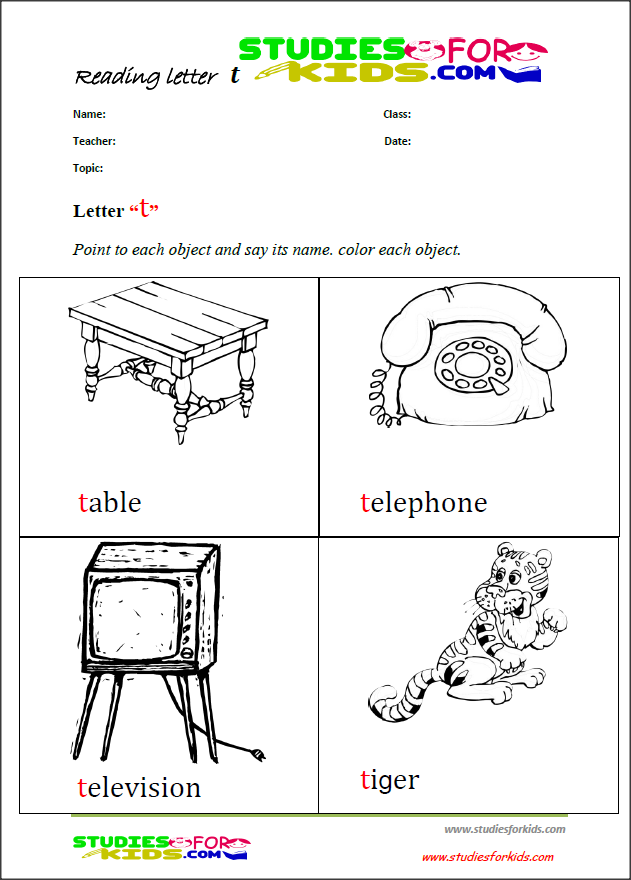 letter T coloring reading printable worksheets for kids PDF