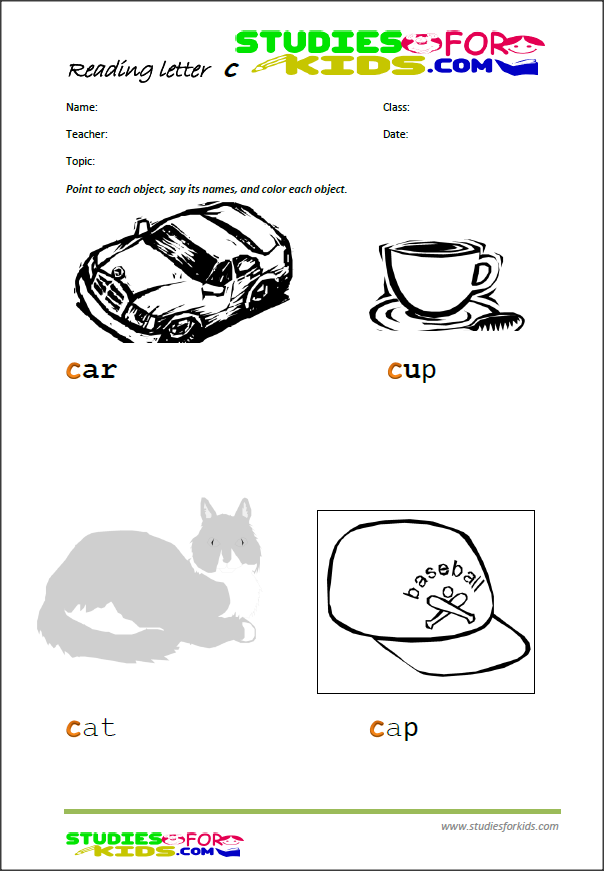 letter c worksheets for kids-free printable PDF