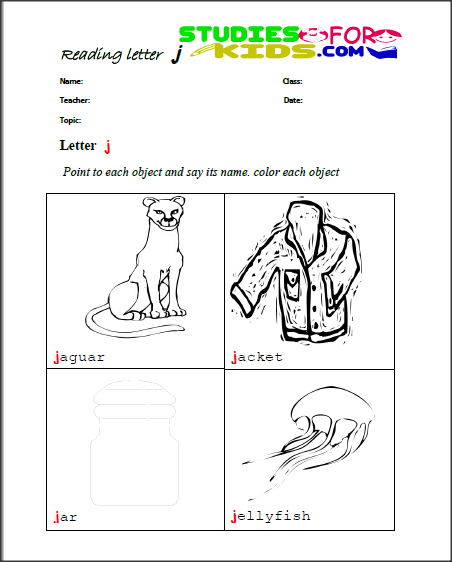 letter j reading worksheets for kids-colouring letter activies for kids PDF