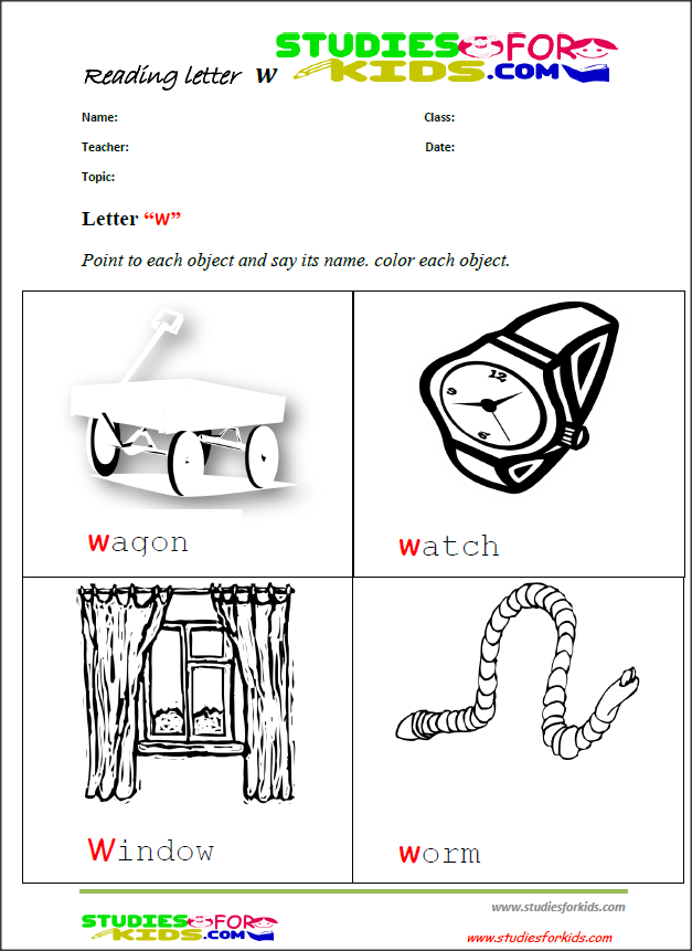 letter w reading worksheets for preschool