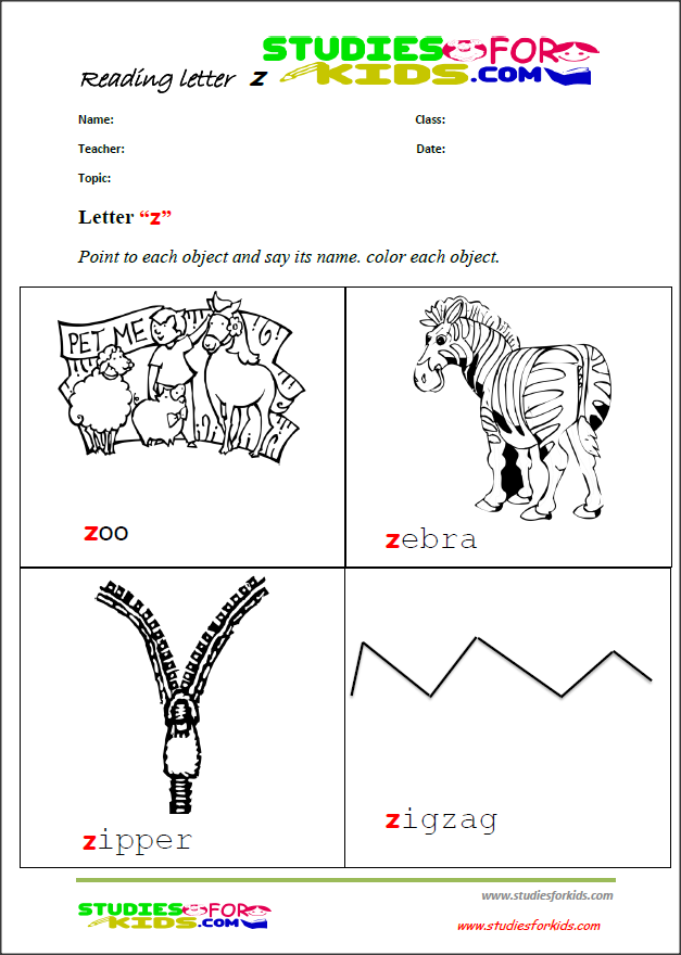 letter z activities reading worksheets for kids - pdF prints