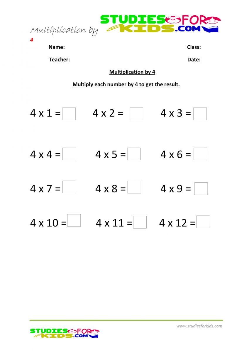 multiplication worksheets grade 3 pdf printable- multiply by 4