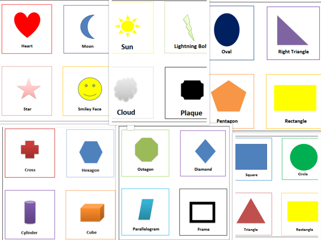 free printable shapes flash cards for kids