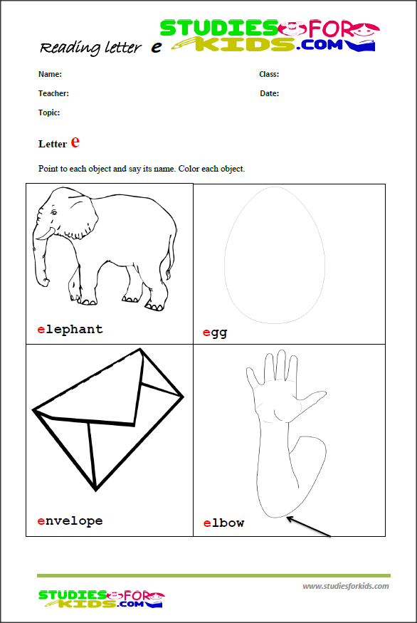 teaching the letter e printable reading worksheet-printable worksheet PDf