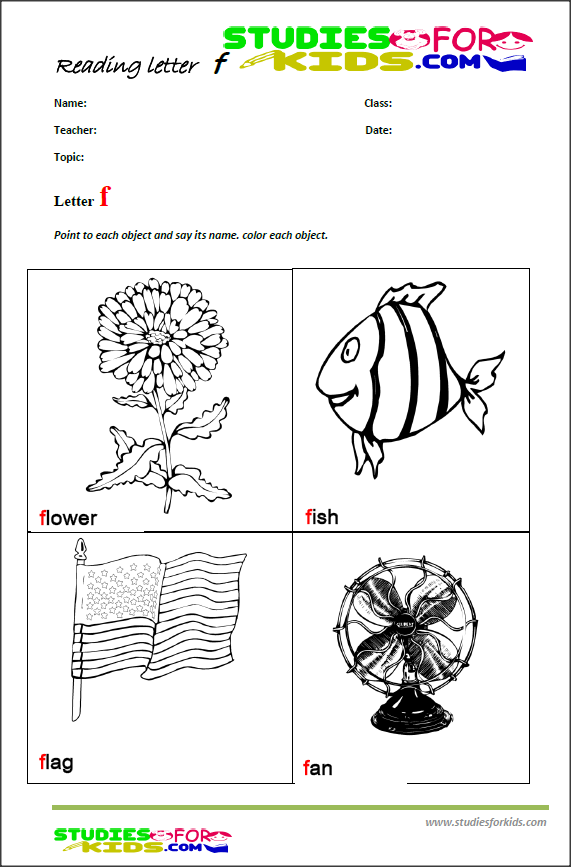 teaching the letter f reading kids worksheets