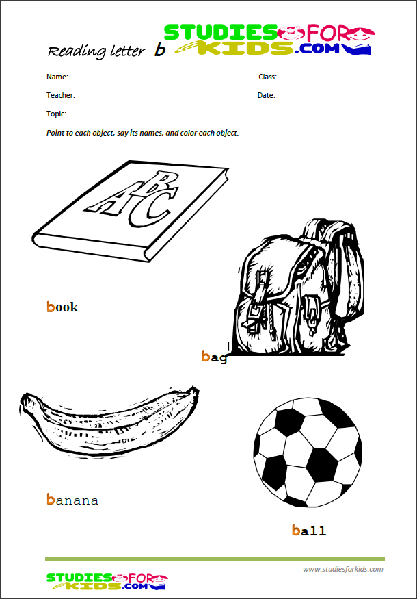 the letter b reading worksheets for kids, free printable PDF