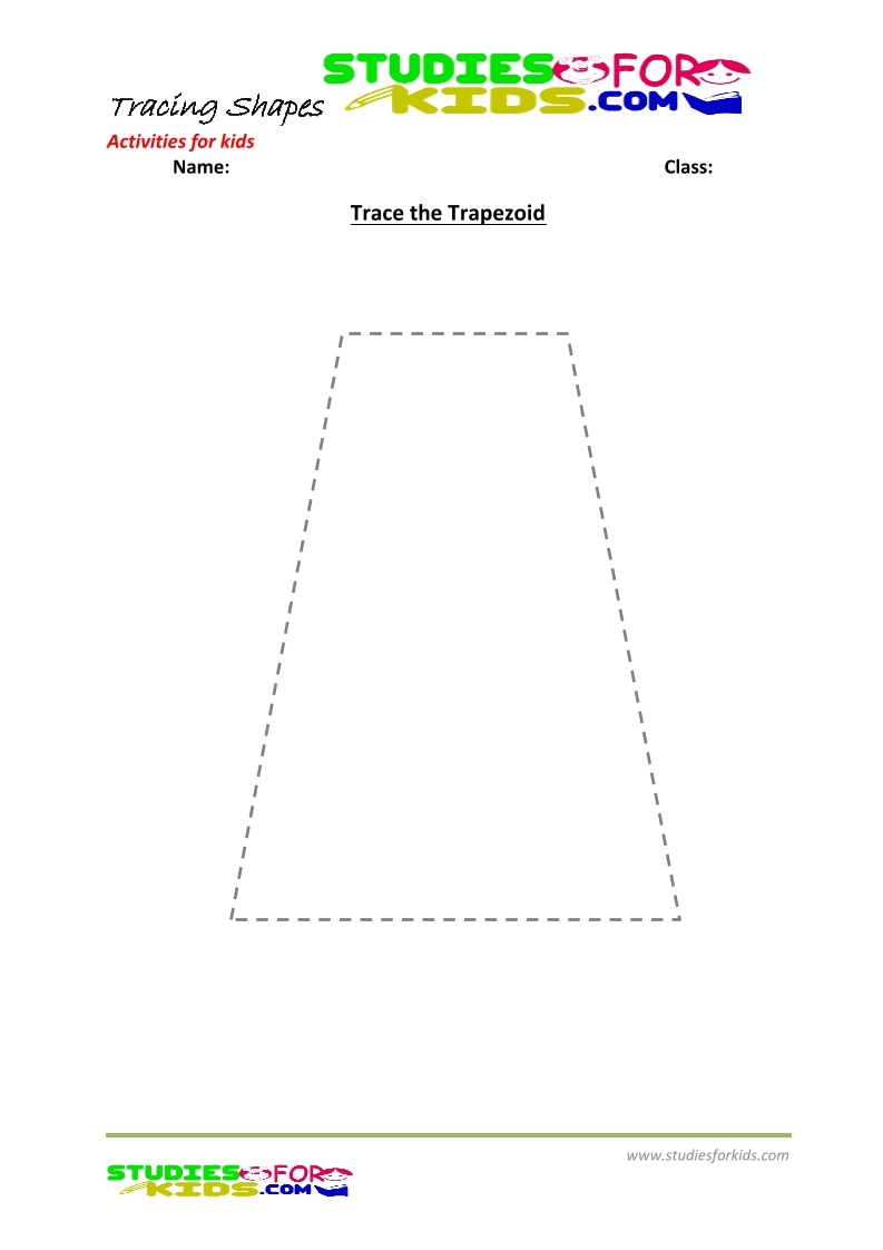 tracing shapes worksheet for kindergarten -Trapezoid