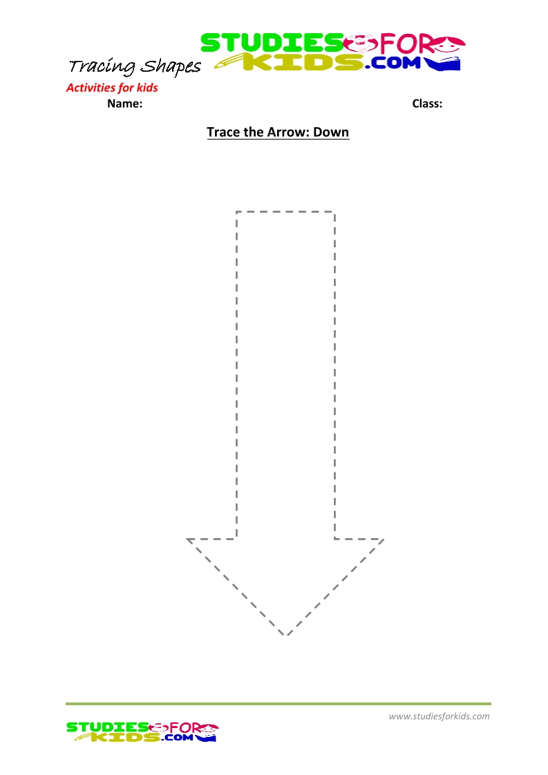 tracing shapes worksheet for kindergarten-  Arrow down