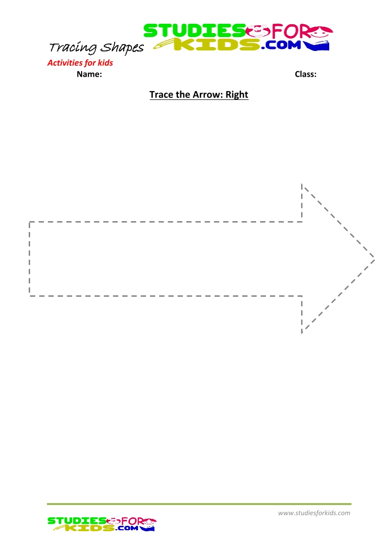 tracing shapes worksheet for kindergarten- trace Arrow right