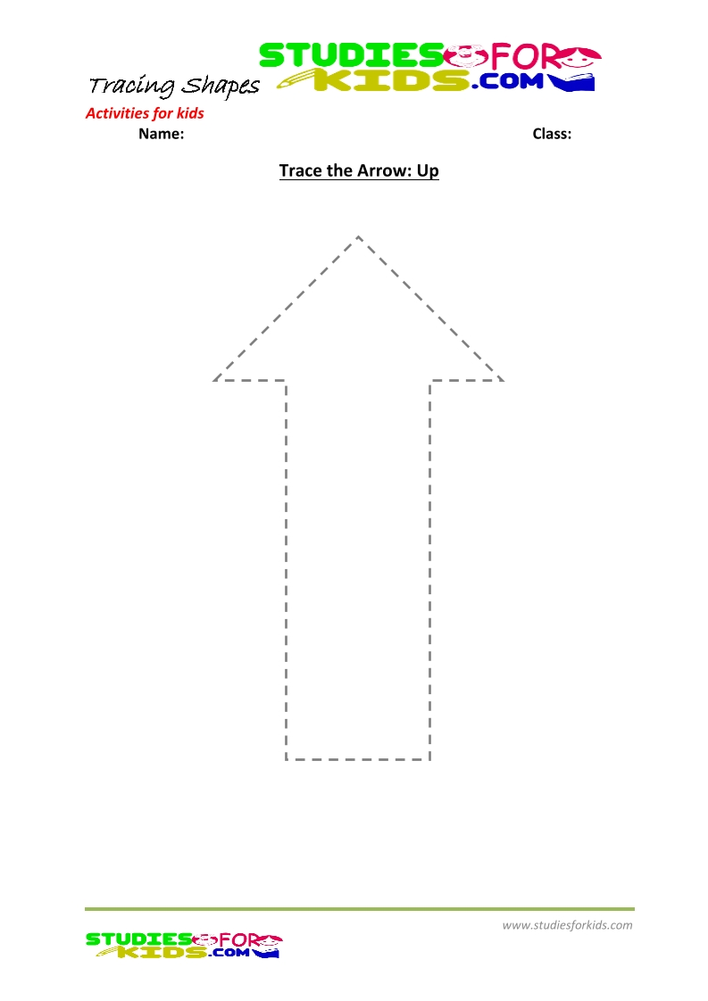 tracing shapes worksheet for kindergarten - trace Arrow Up