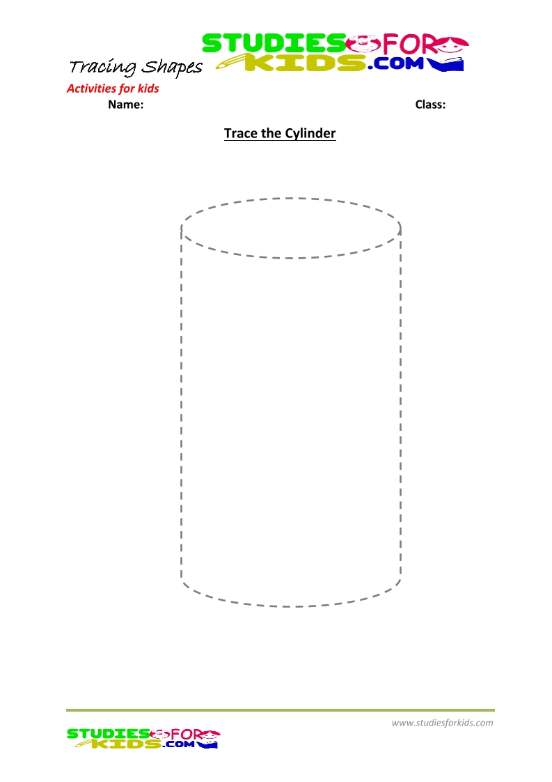 tracing shapes worksheet for kindergarten-  cylinder