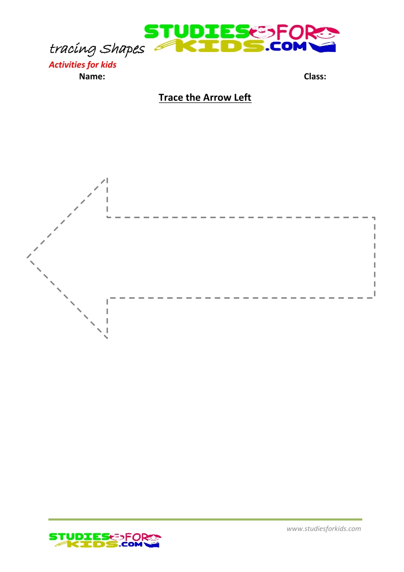 tracing shapes worksheet for kindergarten - Arrow left