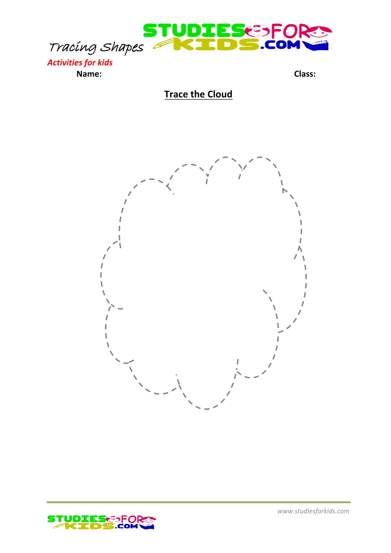 tracing shapes worksheet for kindergarten - the cloud