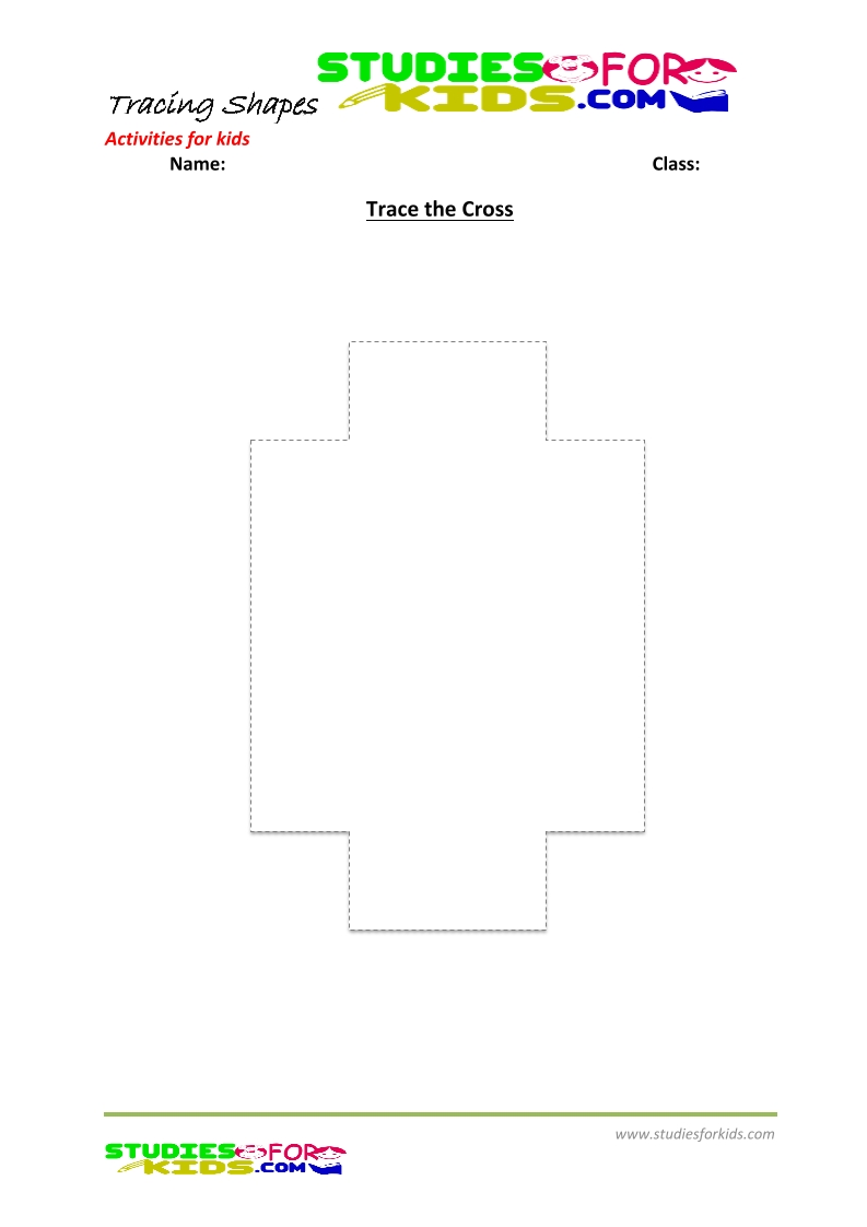 tracing shapes worksheet for kindergarten - the cross