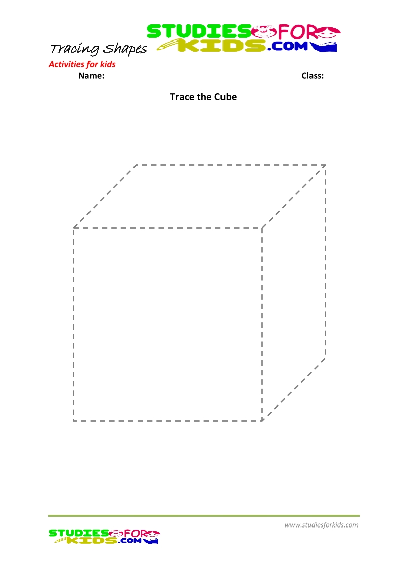 tracing shapes worksheet for kindergarten - the cube