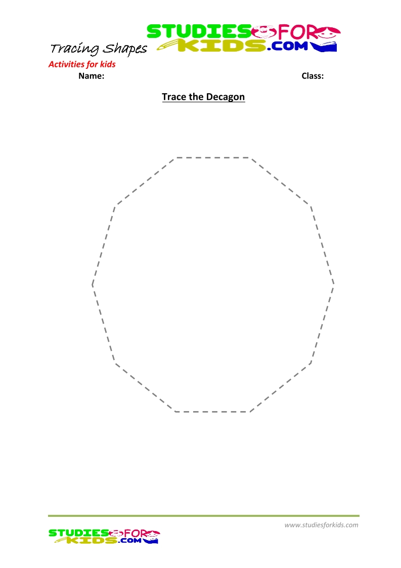 tracing shapes worksheet for kindergarten trace the Decagon