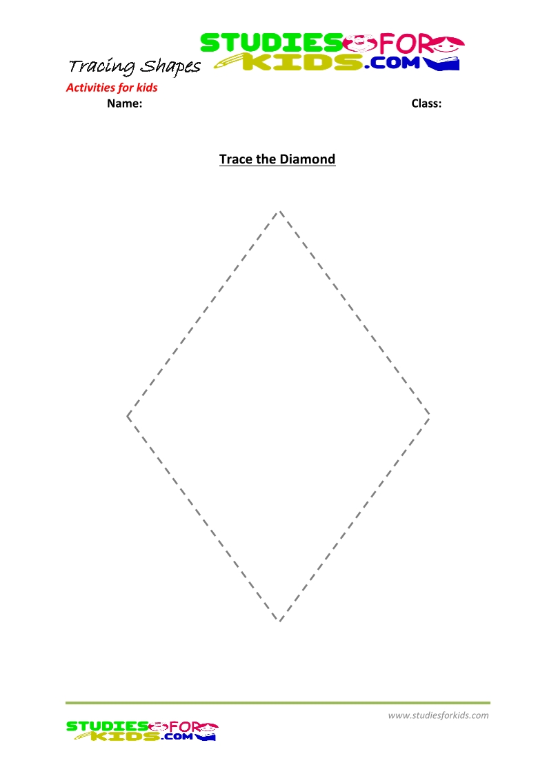 tracing shapes worksheet for kindergarten - trace the Diamond