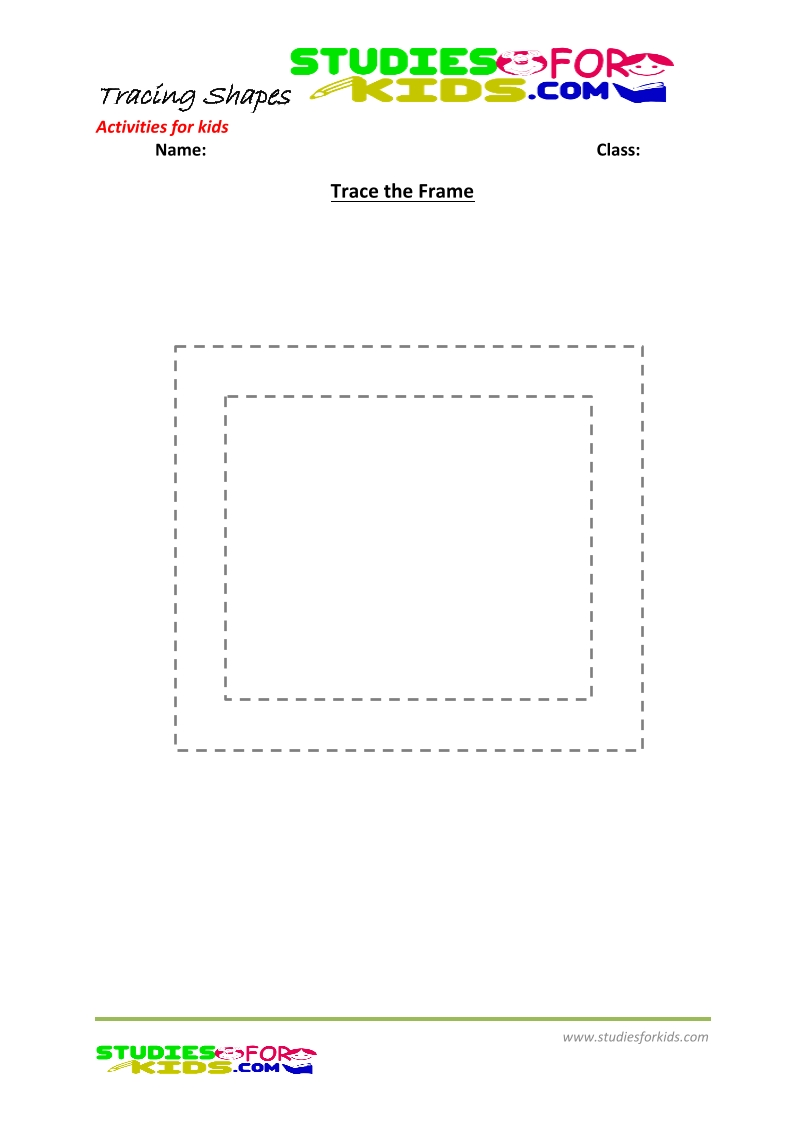 tracing shapes worksheet for kindergarten- trace the Frame