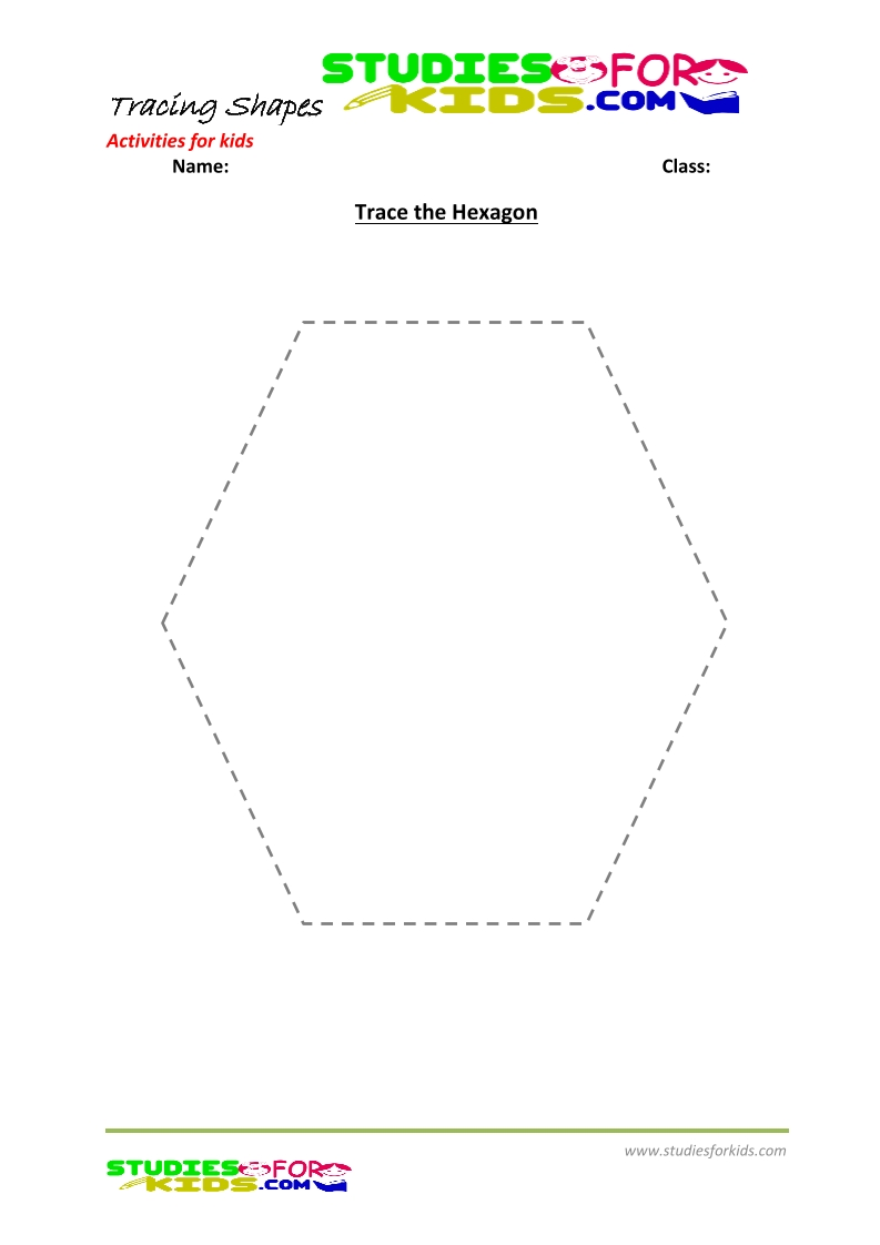 tracing shapes worksheet for kindergarten -trace the hexagon