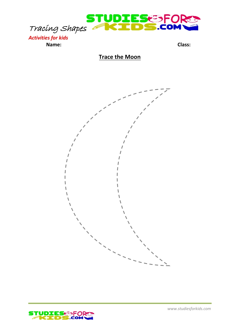 tracing shapes worksheet for kindergarten trace moon
