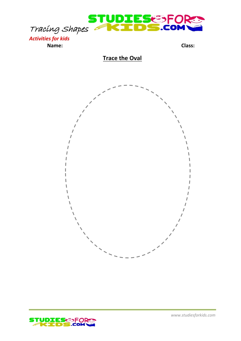 tracing shapes worksheet for kindergarten trace Oval
