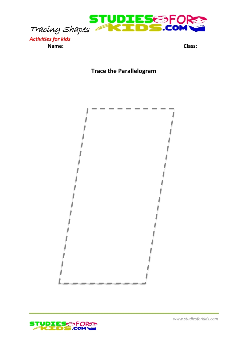 tracing shapes worksheet for kindergarten - trace the Parallelogram