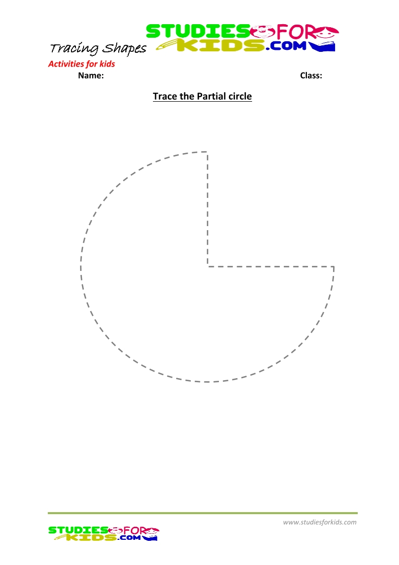 tracing shapes worksheet for kindergarten- trace partial circle