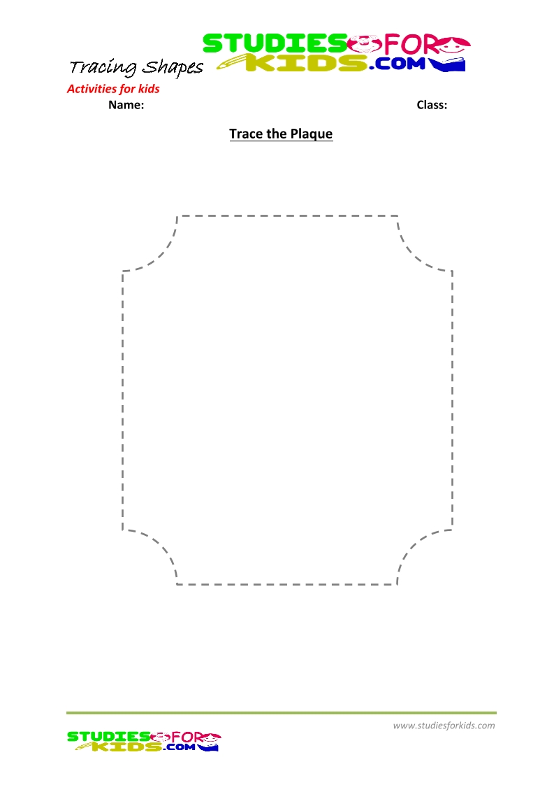 tracing shapes worksheet for kindergarten trace the Plaque