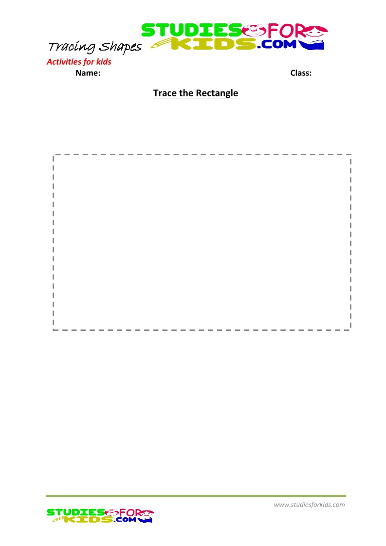 tracing shapes worksheet for kindergarten trace the rectangle