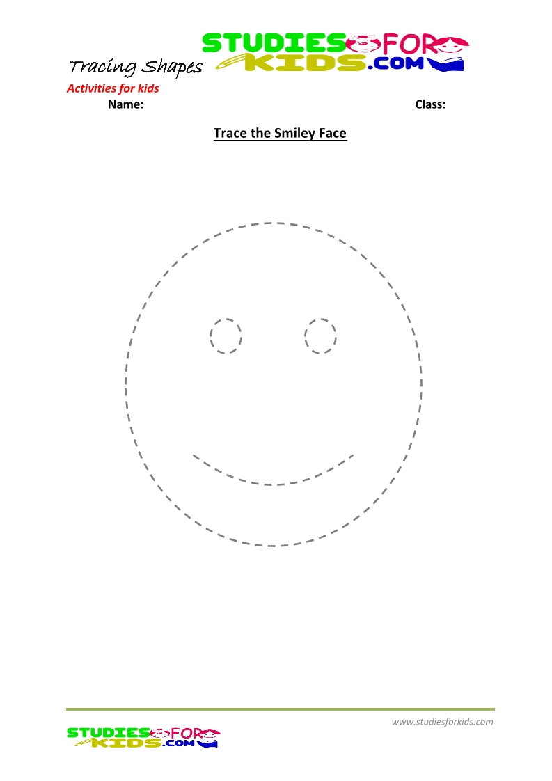 tracing shapes worksheet for kindergarten trace the smiley face